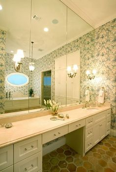 bright bathroom with blue floral wallpaper