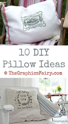 Today I've rounded up 10 DIY Pillow Ideas! All of these pretty crafts and projects were created using Vintage Graphics from my site.