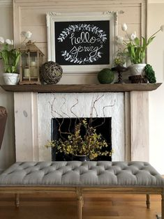 New Photos Fireplace Mantels spring Strategies 35 Popular Fireplace Mantel Decor Best For This Winter – Most people only think about fireplace m Fireplace Mantle, Living Room With Fireplace, Fireplace Design, Living Room Decor, Fireplace Ideas, Fireplace Filler, Living Rooms, Living Area, Summer Mantle Decor