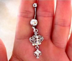 One Belly Button Ring Barbell Clear Crystal Silver Tone Crown ONLY 2 AVAILABLE. $18.00, via Etsy