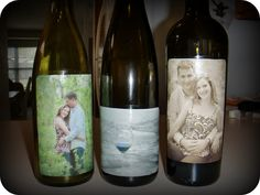Photo centerpieces & photo name cards   Wine bottles with pictures of the couple on them...  Make 2 sets of the photos...  .......First set large enough for the wine bottle ....have the second set be smaller & attach them to plain name cards   The photos on the wine bottles & name cards will replace having table numbers    Frugal with a Flourish: Reader Project: Wedding Centerpiece Wine Bottles