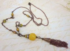 Tassel Necklace Bohemian Necklace Pendant by dfoxjewelrydesigns