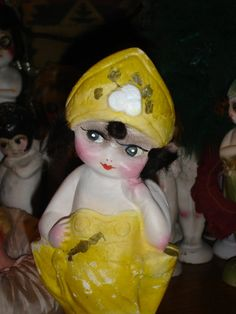 Chalkware Flapper Carnival Kewpie Doll Very Hard to Find Repaired and Restored