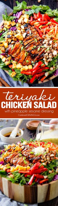 Teriyaki Chicken Salad - This salad is to live for! Packed with refreshing pineapple, macadamia nuts and coconut all doused with the most AMAZING Pineapple Sesame Dressing and the Sweet Chili Teriyaki Chicken is incredible! But my favorite part is you dr Teriyaki Chicken Salad, Chicken Salad Recipes, Salad Chicken, Chicken Curry, Chicken Salad Sandwiches, Chicken Dressing, Healthy Chicken, Healthy Salads, Healthy Eating