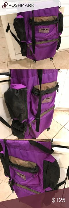 Jansport hiking backpack Great hiking backpack that has lots of pockets (sides,upper,bottom),has some stain on the front and trace of dirt on the bottom,this backpack has metal framed,inside has some white scuffs but no tear or hole noted. Jansport Bags Backpacks