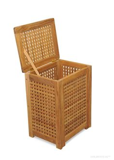 Teak Hamper - great for bathrooms, exercise clubs, pools etc. Hamper, Pools, Teak, Bathrooms, Laundry, Exercise, Home Decor, Toilets, Ejercicio