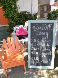 """Orange and mint bridal shower """"Their Love Story"""" chalk board with dates @Jennifer Biagio"""