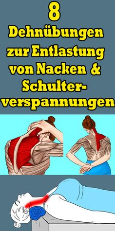 8 stretching exercises to relieve neck and shoulder tension - Yoga und Fitness - ENG Compound Exercises, Stretching Exercises, Yoga Workouts, Yoga Fitness, Health Fitness, Easy Fitness, Hiit, Shoulder Tension, Fitness Motivation