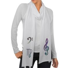Zodiac Sign Virgo Musician Scarf  with Music Clefs