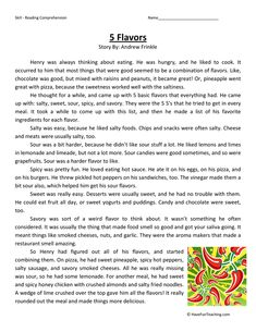 This 5 Flavors Reading Comprehension Worksheet will help your students build their reading comprehension skills while reading about tasting five flavors. Free Reading Comprehension Worksheets, Reading Fluency, Reading Passages, Reading Skills, Grammar Worksheets, Comprehension Questions, Reading Strategies, Essay Writing Help, English Writing Skills