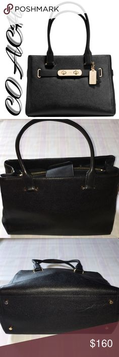 COACH Pebbled Leather Swagger Carryall Coach carryall in black pebble leather has spacious interior w/2 side pockets for phone and accessories, a center zip pocket and a zipper side compartment. This is the perfect size to fit all of your day-to-day items yet looks very chic. Dimensions are 13.5 x 9.5 x 6.5. This bag is new and has never been used but 1 of the handles has been repaired. The repair is not visible from the outside but inside you can see 2 screws from where it was reattached…