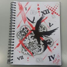 Trash polka with crow, pocketwatch, crow, roman numerals and gears