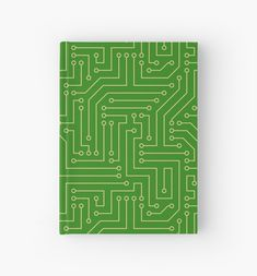 'Green and gold computer circuit board pattern' Hardcover Journal by cool-shirts