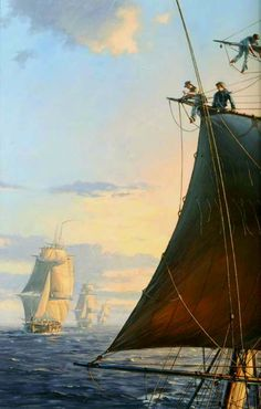 """'The Mauritius Command'--  A tranquil sunset in the Indian Ocean, seen from the upper masts of the 18-gun ship-sloop """"HMS Otter"""". Beyond her are three frigates """"Boadicea"""", """"Sirius"""" and """"Nereide"""". The cover of Patrick O'Brian's fourth Aubrey/Maturin novel.  The original painting is in the Royal Naval Museum, Portsmouth."""