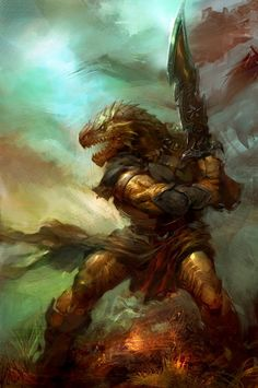 Dragonborn warrior. A race created in ancient times by the dragons to serve as soldiers in their war against the gods, dragonborn are the most prominent member of a genus that includes Kobolds, Yuan-ti, Lizardfolk, and most of the other sentient reptilian races.