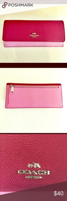 ❤️Valentine's Day Special❤️Purple Coach Wallet Valentine's Day Special❤️PURCHASE THIS AND A FREE GIFT 🎁 WILL BE INCLUDED WITH YOUR PURCHASE! Gently used Coach Wallet in good condition, a couple markings and signs of wear circled above like on the inside of the flap in picture #6. Plum purple and light purple in color. The light purple can look pink depending on the lighting. Contains 8 slots for keeping your cards. I do not have the dust bag. Width = 7.75in. Height = 3.75in. Let me know if…