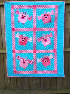 Appliqued Pink Flying Pigs Quilt or wallhanging on Etsy, $175.00