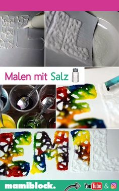 Salz Kunstwerke A super nice craft idea for all children. Exciting works of art can be created with wood glue, table salt and food coloring. Discover a lot more mom hacks, tips, tricks, simple family Diy Crafts To Sell, Diy Crafts For Kids, Art For Kids, Art Crafts, Creative Crafts, Mom Hacks, Hacks Diy, Life Hacks, Diy Niños Manualidades