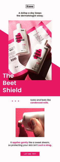 KraveBeauty Email Newsletter Design | Product Promotion / The Beet Shield / Beet the Sun / Skincare Education Email Newsletter Design, Email Newsletters, Email Design, My Design, Web Instagram, Instagram Design, Email Web, Editorial Design, Promotion