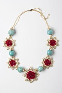 Cute Necklace ~ Aqua and Red