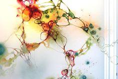 Art by Rikke Darling - Outbreak (100x150 cm) - www.rikkedarling.com #painting #art #contemporary #kunst #maleri #orange #blue #green #red