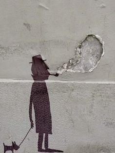 Man walking dog and smoking pipe. Nice way to use #art on a wall that has a hole. ~Me Art by #StreetArtist Sandrine Estrade Boulet.  #StreetArt