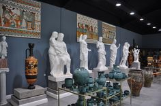 Collection of marble statues in Agora art gallery
