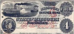 I've always liked old paper currency. While my bank account doesn't allow for me to have any Confederate banknotes in my small collection, I find them fascinating. They say so much about the era. This Missouri Defense Bond was issued by the state's Confederate government in exile to pay the Missouri State Guard. It isn't signed so it was probably never issued. Note the steamboat. Missouri provided access to the Missouri and Mississippi Rivers, vital trading routes that both sides wanted.