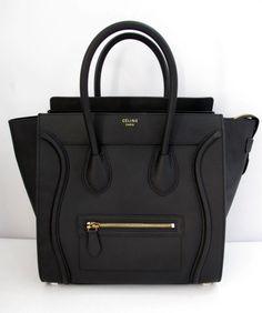 celine mini luggage black smooth leather