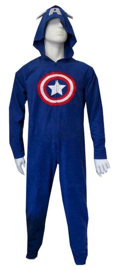 "Marvel Comics Captain America Hooded Fleece Onesie Pajama  Conquer the evil-doers in the house in these super fun pajamas! These pajamas for adults feature the classic Captain America suit. Hood pulls down to complete the disguise. This soft fleece onesie pajama has a half-zip front and is totally cool! Unisex sizing. M/L fits 5'3""-5'10"" and 120-170 lbs. L/XL fits 5'5""-5'11"" and 150-200 lbs. $35"