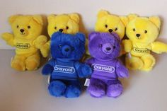 "Crayola Bear 1986 Yellow Blue Purple 8"" - Lot of 6 - Burger King Vintage Plush  #GraphicsInternational"