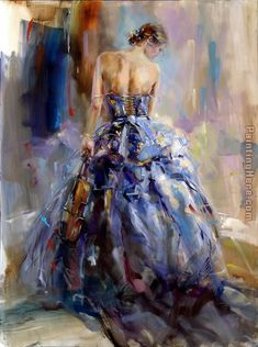 """Some day I will paint like this.  Love the brush strokes and color use. """"Love Story"""" Art  by Anna Razumovskaya"""