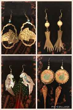 """Welcome to Elephant & Owl! Items are all OOAK, handmade from loose beads, upcycled/re-claimed/re-purposed materials, and/or """"found objects. Find Objects, Repurposed, Upcycle, Elephant, Owl, Drop Earrings, Facebook, Beads, Handmade"""