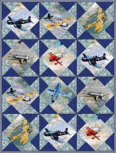 Airplanes Vintage Fighter Planes Quilt Blocks Kit Pre-Cut – Quilt Kit Shop
