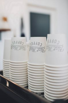 Stacked paper cups with simple decoration
