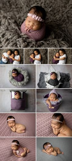 8 day old Althea and her gorgeous grey and purple themed studio newborn photo shoot. Sunny S-H Photography Winnipeg
