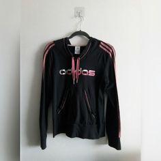 e5fb5603135c49 ADIDAS HOODIE • Charcoal Adidas hooded jumper w/pink and - Depop Adidas  Hoodie,