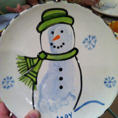 Footprint snowman - paint your own pottery