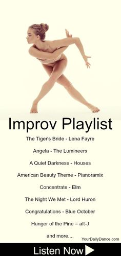 As the dance year wraps up, continue to challenge yourself to explore different songs and movement. That time spent exploring movement will only be a benefit! May 2017 Improv Playlist Songs For Dance, Dance Playlist, Dance Tips, Dance Poses, Dance Lessons, Just Dance, Dance Music, Dance Stuff, Dance Teacher
