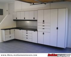 This is a simple garage cabinet layout but a very effective way to ...