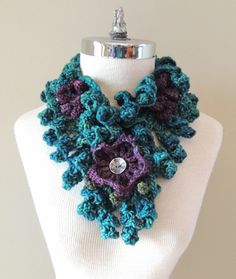 Floral Onie Scarf in a Teal Purple Green by ValerieBaberDesigns, $65.00