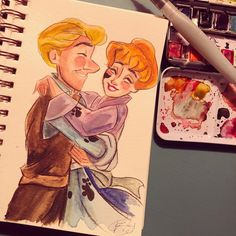 Forever this couple is GOALS. I'm feeling a cold coming on, so it's nice to calm down and take the afternoon off and just doodle. And take care of my high maintenance dog 😂😂😂😂😂 Disney Animated Movies, Calm Down, Disney Animation, Disney Drawings, Doodles, High Maintenance, Goals, Watercolor, Photo And Video
