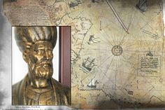 A bronze bust of Turkish admiral and cartographer Piri Reis and his map, made in 1513. (Wikimedia Commons)
