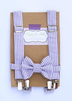 Purple Seersucker Suspenders & Bow Tie Set by CharlieandMills, $23.00