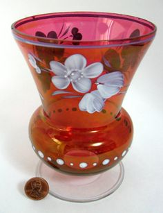 Edwardian Bohemian Art Glass Vase Red And by AntiquesAndTeacups, $24.00