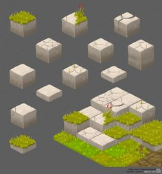 Art of Biboun — My other work for mojow locow ©Owlient/Ubisoft Isometric Art, Isometric Design, Environment Concept Art, Environment Design, Game Ui Design, Design Art, Cube Design, Tiles Game, 2d Game Art