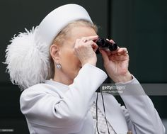Princess Michael of Kent watches the racing from the balcony of the Royal Box as she attends Derby Day during the Investec Derby Festival at Epsom Racecourse on June 2016 in Epsom, England. Epsom Derby, Derby Day, Balcony, Winter Hats, June, England, Racing, Watches