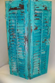 Shabby chic distressed shutter wooden aqua by AnitaSperoDesign, $60.00