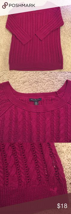 American Eagle Outfitters Burgundy Sweater Worn twice in great condition. 3/4 sleeve. ✨Save $$$ when bundling with other items. 📍NO TRADE American Eagle Outfitters Sweaters
