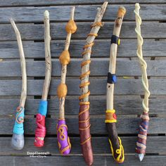 Make your own Magic Wands! ~ These turned out great--Not your generic magic wands! I love the bright colors and . Magic Wand Craft, Magic Wands, Harry Potter Wands Diy, Harry Potter Wizard, Polymer Clay Crafts, Diy Clay, Geek Crafts, Diy Crafts, Clay Crafts For Kids